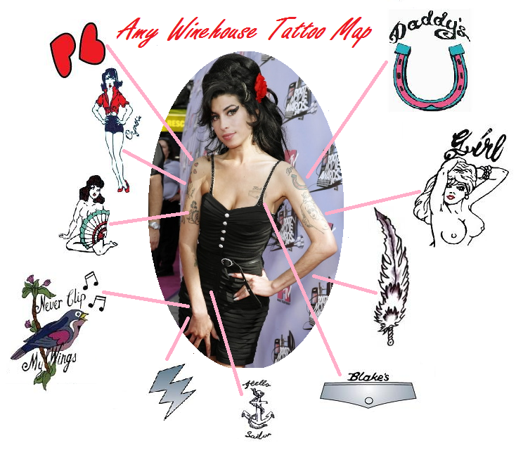 Long Lasting Temporary Tattoos Amy Winehouse  (NSFW)