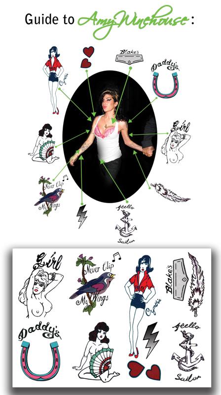Temporary Tattoos Amy Winehouse Set Full Size  (NSFW)