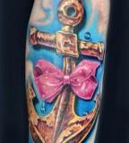 Bright Cute Girls Anchor Tattoo Design on Forearm