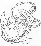 Cute Love and Anchor Themed Girls Tattoo Design Sketch