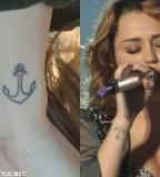 Cool Miley Cyrus Anchor Tattoo Design on Wrist