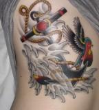 Nice Full Rib Girls Anchor Tattoo Design Photo