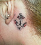 Sexy Girls Anchor Themed Tattoo on Behind the Ears