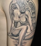 Black Angel Tattoos Design for Men
