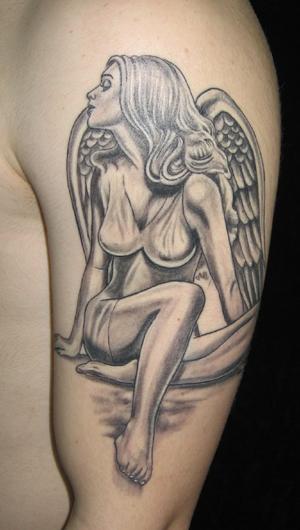 Black Angel Tattoos Design for Men