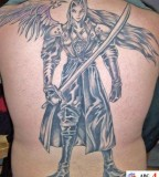 Angel Tattoos Designs on Upper Back for Men