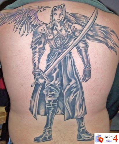 Angel Tattoos Designs on Upper Back for Men