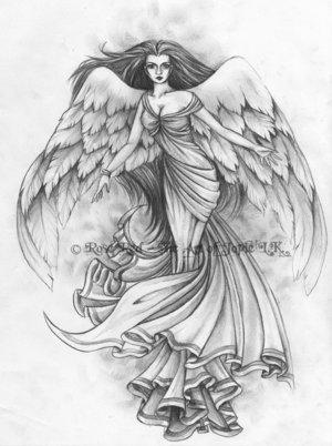 Sad Angel Tattoo Sketch