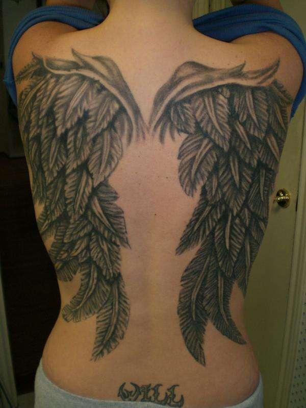 Black Angel Wings Tattoo Designs