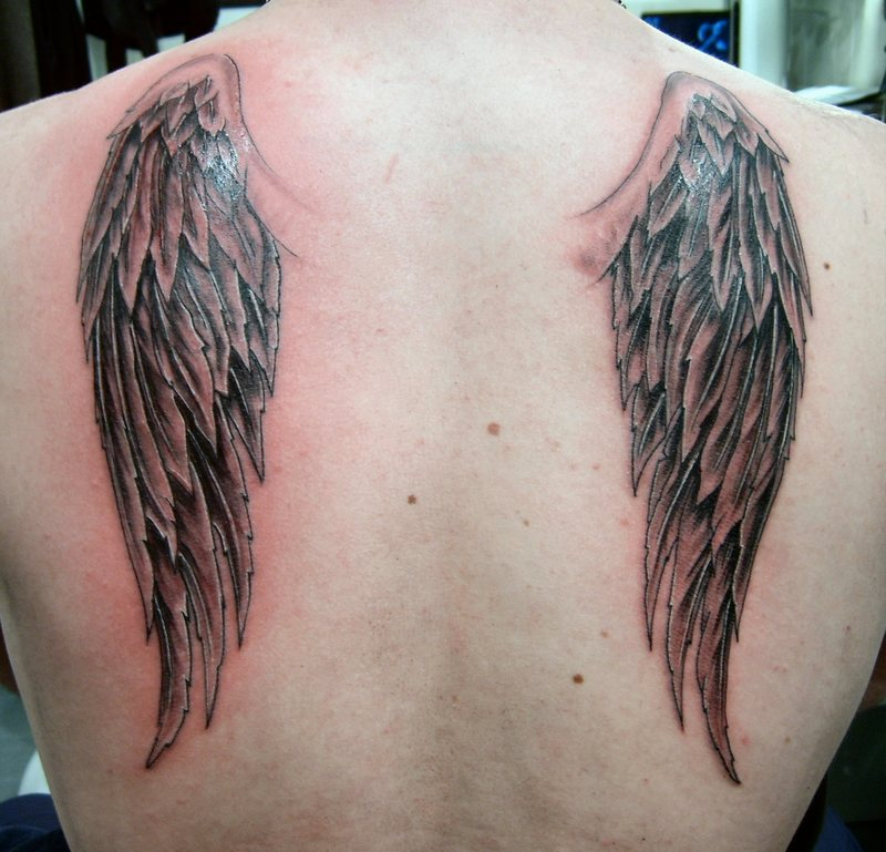 Beautiful Wing Tattoo on Back for Women