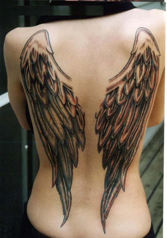 Fantastic Angel Wings Tattooon Woman's Back