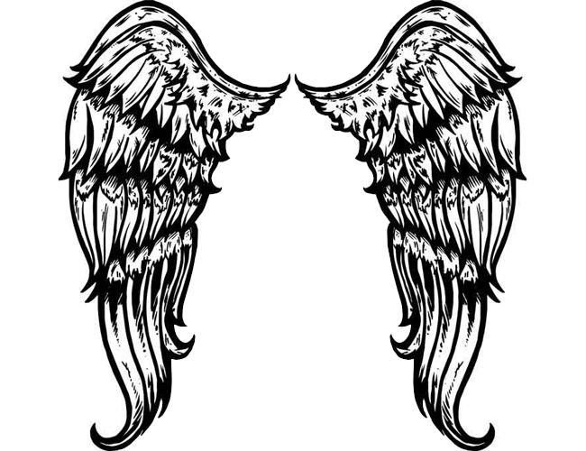Large Tribal Angel Wings Tattoo