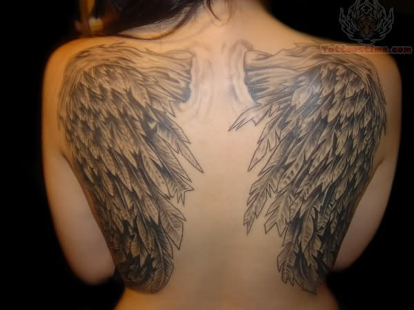 Wing Tattoos Across the Shoulders and Back