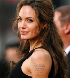 Cool Angelina Jolie Text Tattoo on Left Hand