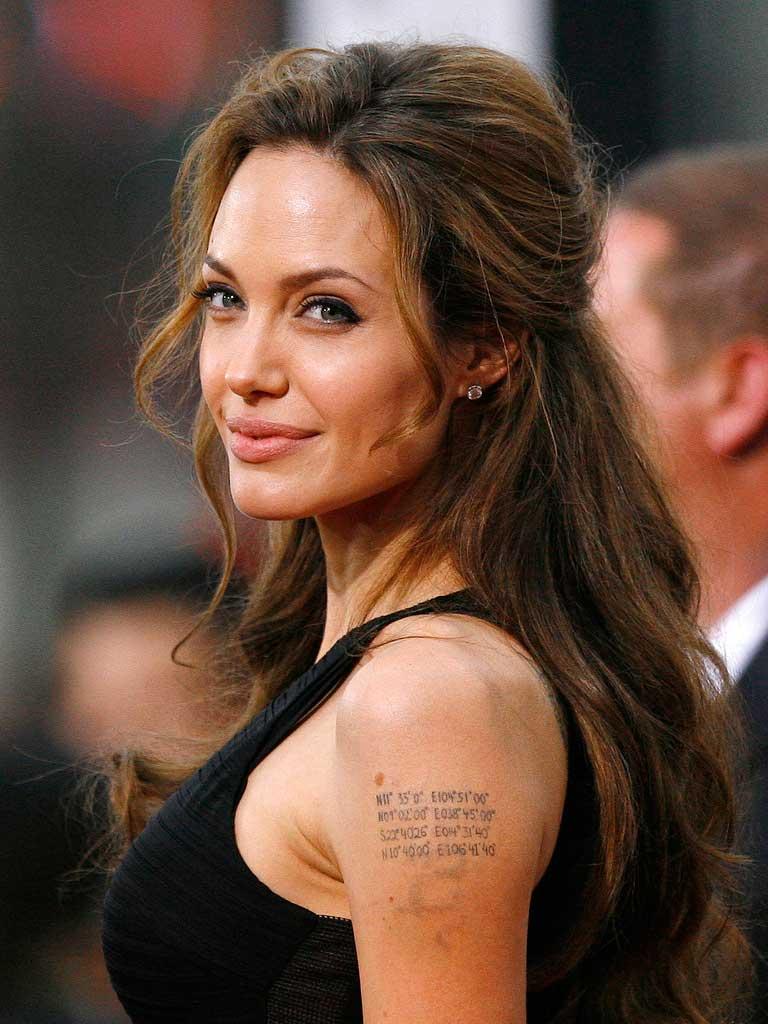 Cool Angelina Jolie Text Tattoo on Left Hand