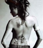 Back Body of Angelina Jolie Celebrities Tattoos List