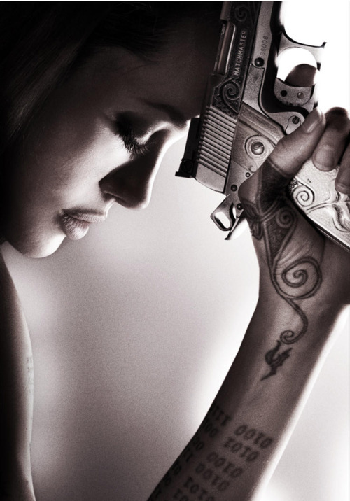 Angelina Jolie Tatoos in Hand on Wanted Movie
