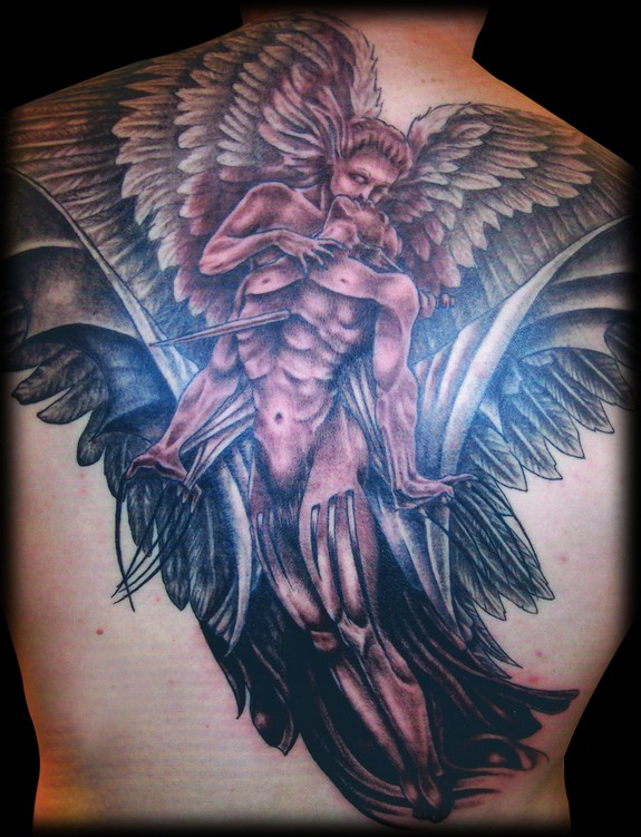Amazing Angel Wing And Demon Backpiece Tattoos