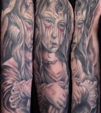 Creepy Demon Tattoo on Sleeves Images