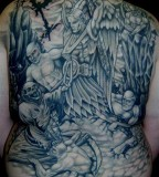 Angel And Demon Tattoos Full Body on Back