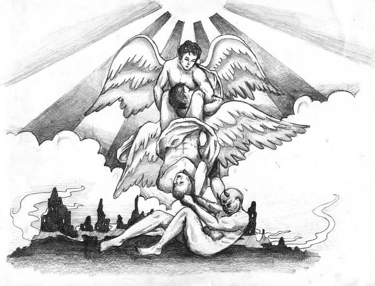Angel And Demon Tattoos Foot Design Sketch