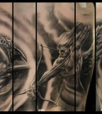 Angel Arrow Vs Demon Sleeve Tattoo Images