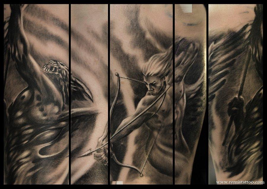 Angel Arrow Vs Demon Sleeve Tattoo Images