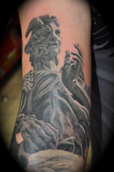 Amazing Angels And Demons Tattoo On Arm Photos