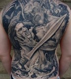 Angle Vs Demon Backpiece Tattoos Full Body