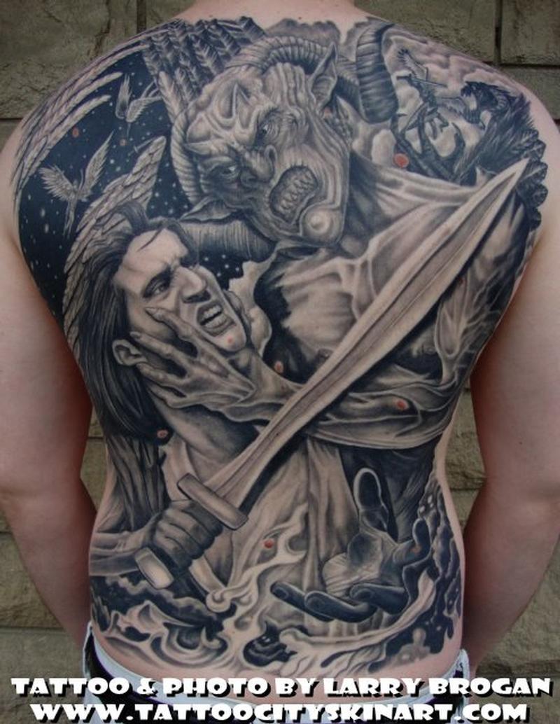 Angle Vs Demon Backpiece Tattoos Full Body