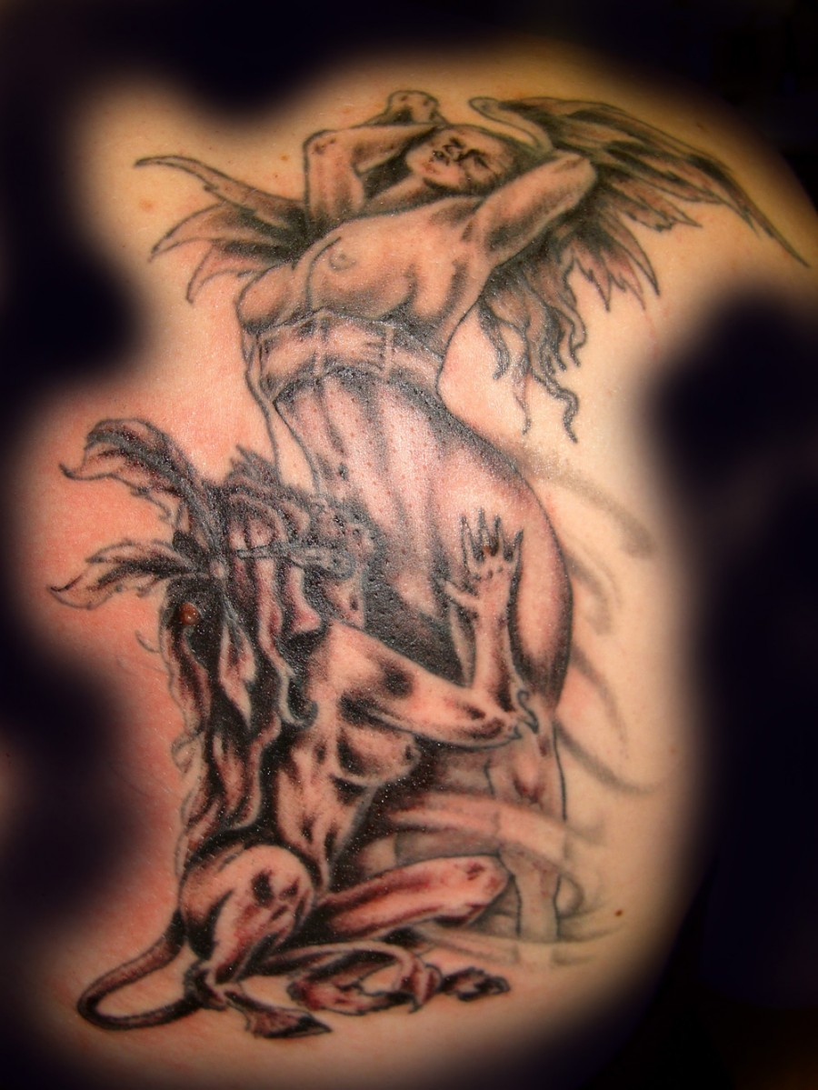 Exotic Lady Demon And Angel Tattoo Images