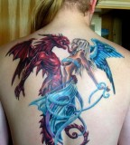 Gothic Tattoo Blue Angels And Red Demons