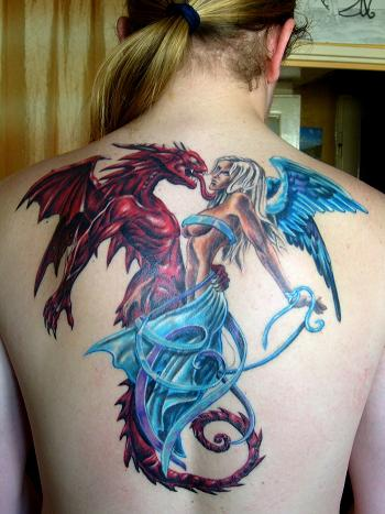 gothic tattoo blue angels and red demons tattoomagz