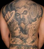 Awesome Paradise Tattoo Religious Demon Devil Vs Angel