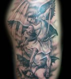 Beautiful Design Angel and Demon Tattoo War Ideas