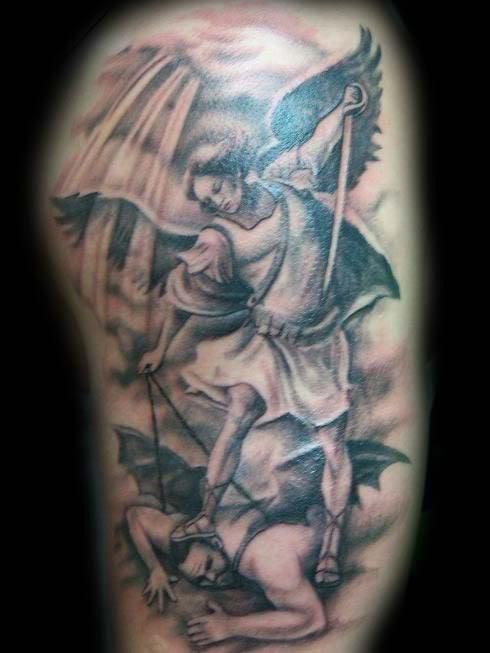 Beautiful Design Angel and Demon Tattoo War Ideas