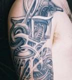 Ankh Cross Eye Of Horus Egyptian Anubis Pariah Dog Tattoo