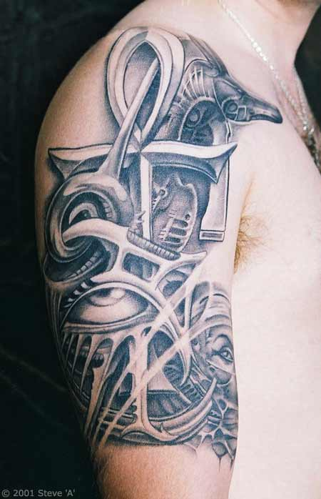Ankh Cross Eye Of Horus Egyptian Anubis Pariah Dog Tattoo