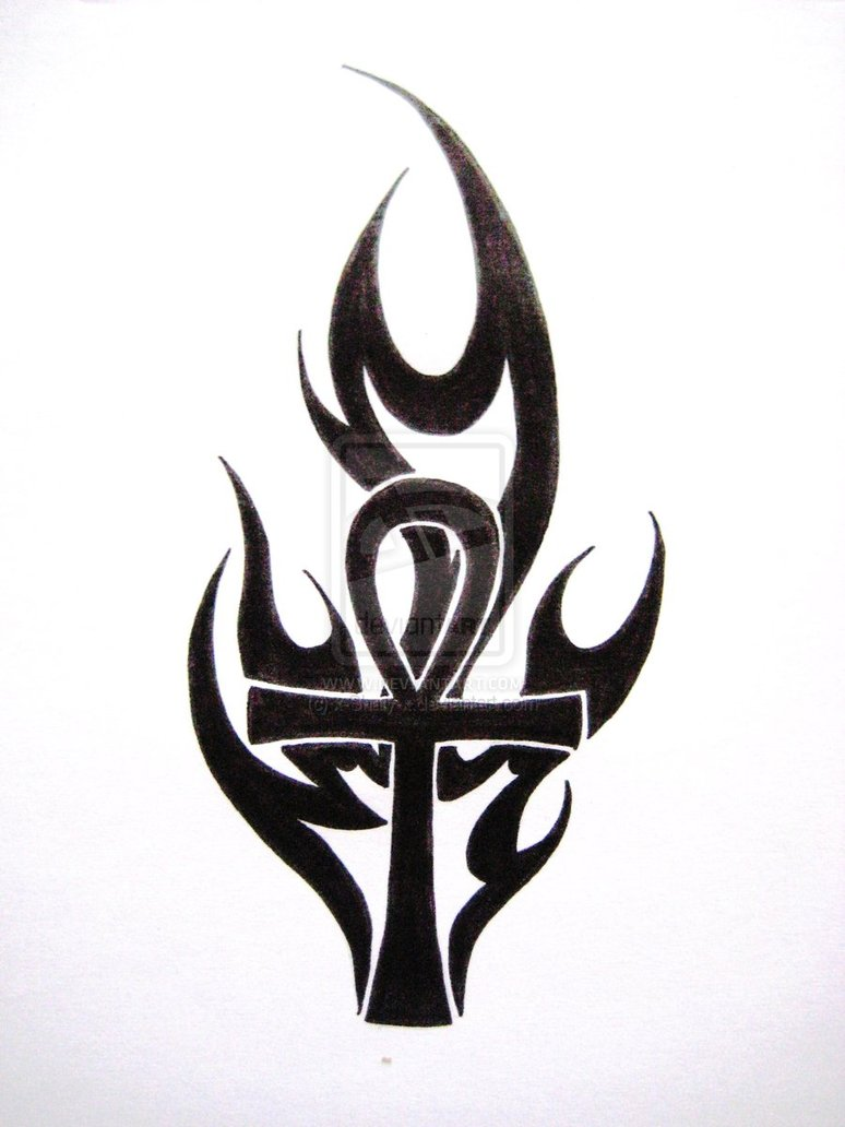 0e113e14bc884 Black - White Flaming Ankh Tattoo Design - | TattooMagz › Tattoo ...