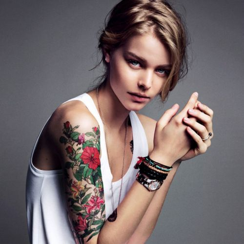 arm sleeve colorful flower tattoo