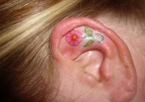 Cute Small Flower Tattoos on Ear