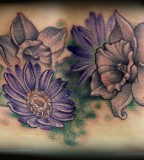 Purple Aster Flower Tattoo Design for Women