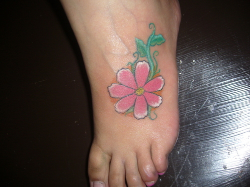 Aster Flower Tattoo On Foot