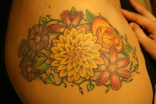 Aster Flower Tattoos Design for Women