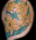Yellow Aster Flower Tattoos Design