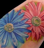 Blue and Red Aster Flower Tattoo Design