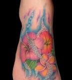 Great Aster Flower Tattoo Ideas On Foot for Women
