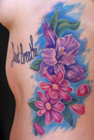 Aster Flower Body Art Design