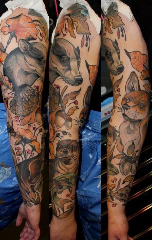 autumn-forrest-animals-tattoo