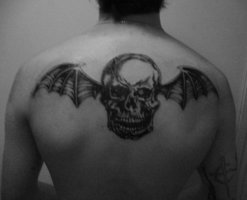 "Avenged Sevenfold ""Winged Skull"" Tattoo on Upper-Back"